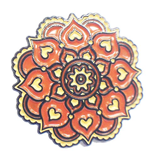 Indian Floral Mandala Orange and Beige Flower with Hearts - Lapel Pin ()