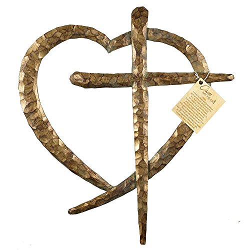 Cross And Heart Intertwined Patina Bronze Tone 12 x 13.5 Resin Stone Wall Sign Plaque