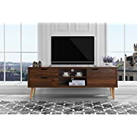 Mid-Century Style TV Stand, Living Room Entertainment Center (Brown)