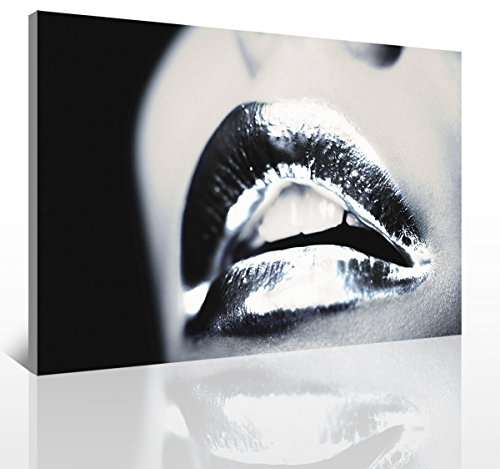 sunfrower Art-Abstract Mouth Black Silver Lips Kiss Canvas