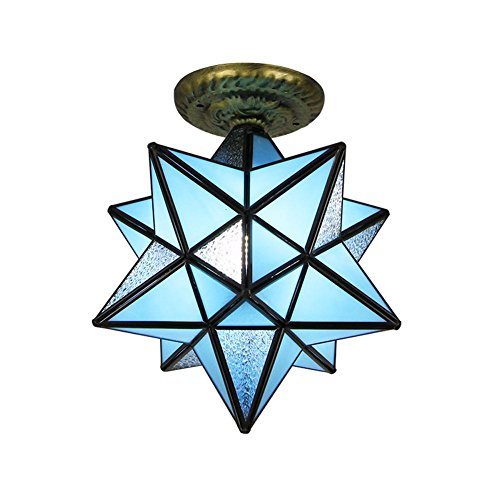 DMMSS Five-Pointed Star Of Frosted Glass Pendant Lights Glass Shade Pendant Lamp Ceiling Lights Living Room Bedroom Dining Room Ceiling Of The Corridor Ceiling Lamp (W40Cm) Blue by DMMSS Pyjamas