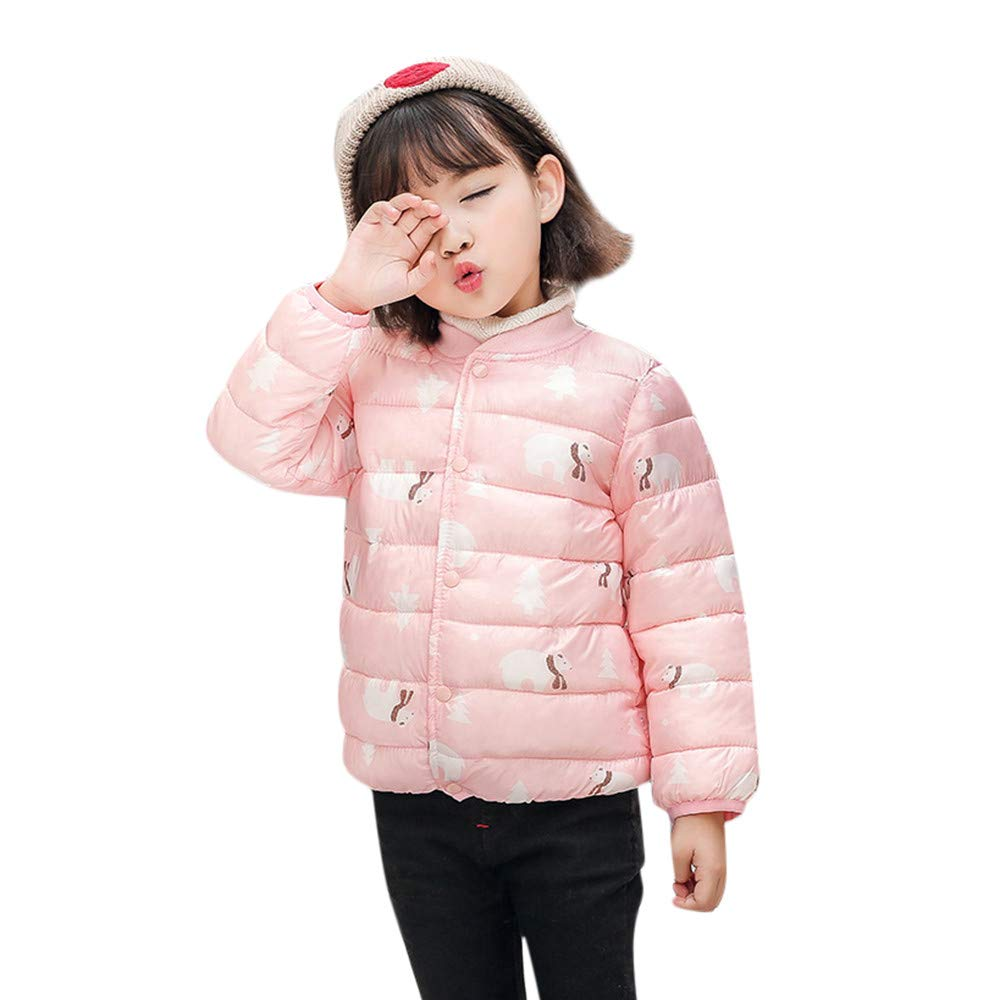 WARMSHOP Kids Baby Lightweight Down Coat,Long Sleeve Cartoon Print Crewneck Winter Warm Casual Windproof Outwear Coat China