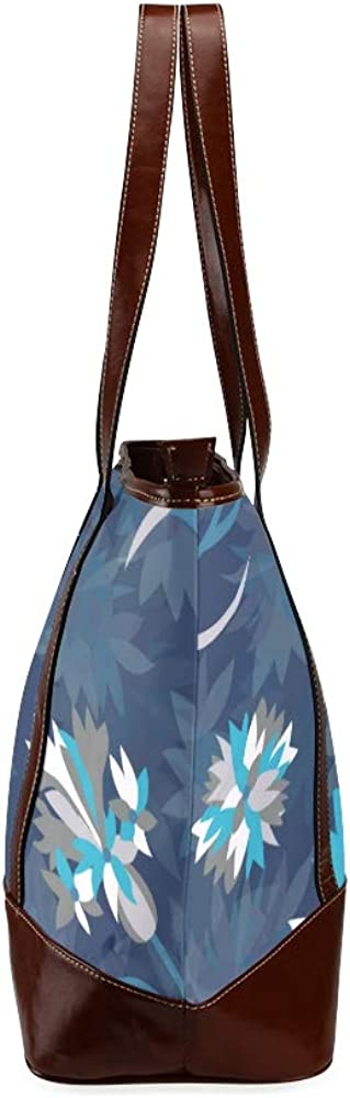 Tote Bags Seamless Floral Pattern With Blue Corn Flowers Vector Travel Totes Bag Fashion Handbags Shopping Zippered Tote For Women Waterproof Handb