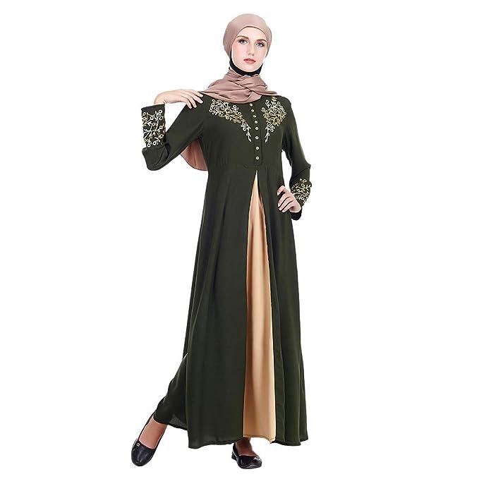 zarupeng✦‿✦ Festival de Ramadán para mujer Estampado musulmán Elegante boho Vestido largo Árabe Kaftan Bata