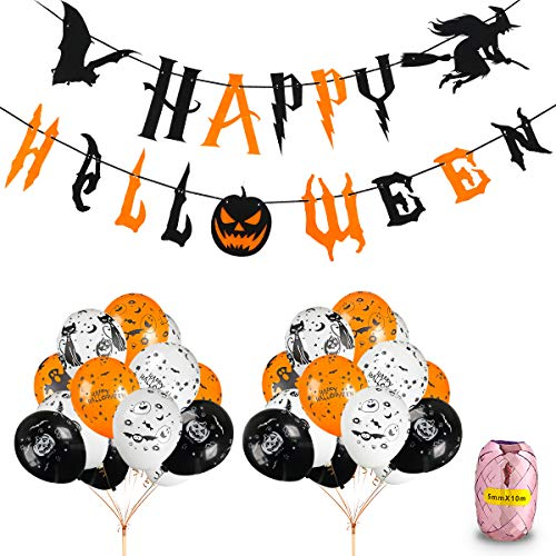 Halloween Party Balloons Decorations Kit - Happy Halloween Banner and 30 pcs 12 Inches Pumpkin Ghost Bat Specter Spider Web Latex Balloons for Halloween Party Supplies