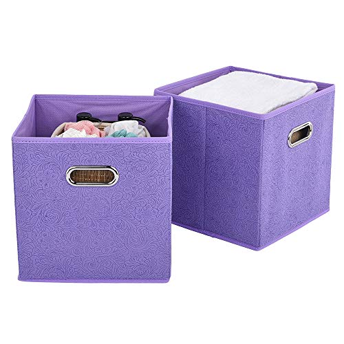 VCCUCINE Foldable Cloth Fabric Cubes, Storage Bins 2 Packs Light Purple Storage Drawers Cube Basket Bins for Home Closet Bedroom Containers Drawers