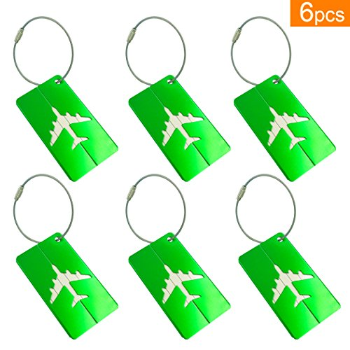 6-pack-metal-luggage-tags-plane-shape-green