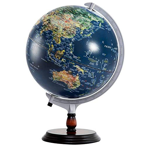 Ocean Mova Globe - Desktop globe HJCA World Earth Instrument - Lamp Body Relief Chinese And English Students Teaching Office Decoration Home Decoration - Diameter 32CM Learning utensils, office home decoration, crafts