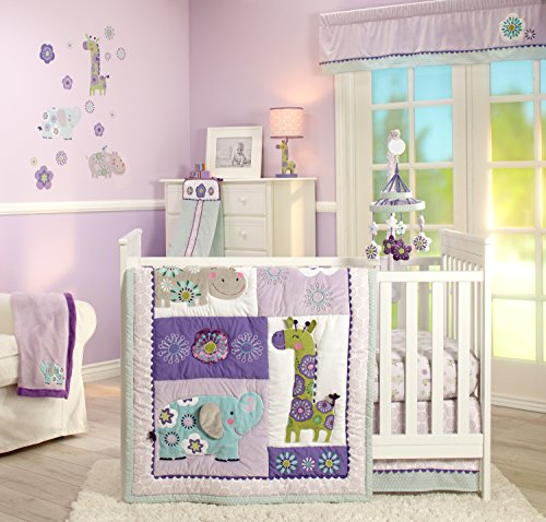 Carter's Zoo Jungle/Safari 4 Piece Nursery Crib Bedding Set, Lavender/Aqua/White (Bedding Sets Carters Baby)