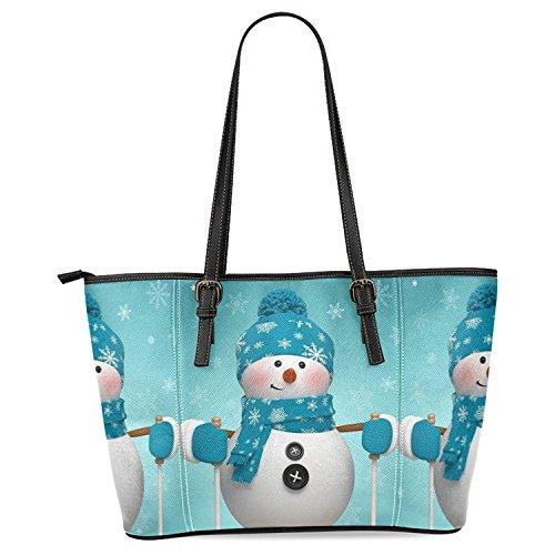 - InterestPrint Christmas Snowman Snowflake Women's Leather Tote Shoulder Bags Handbags