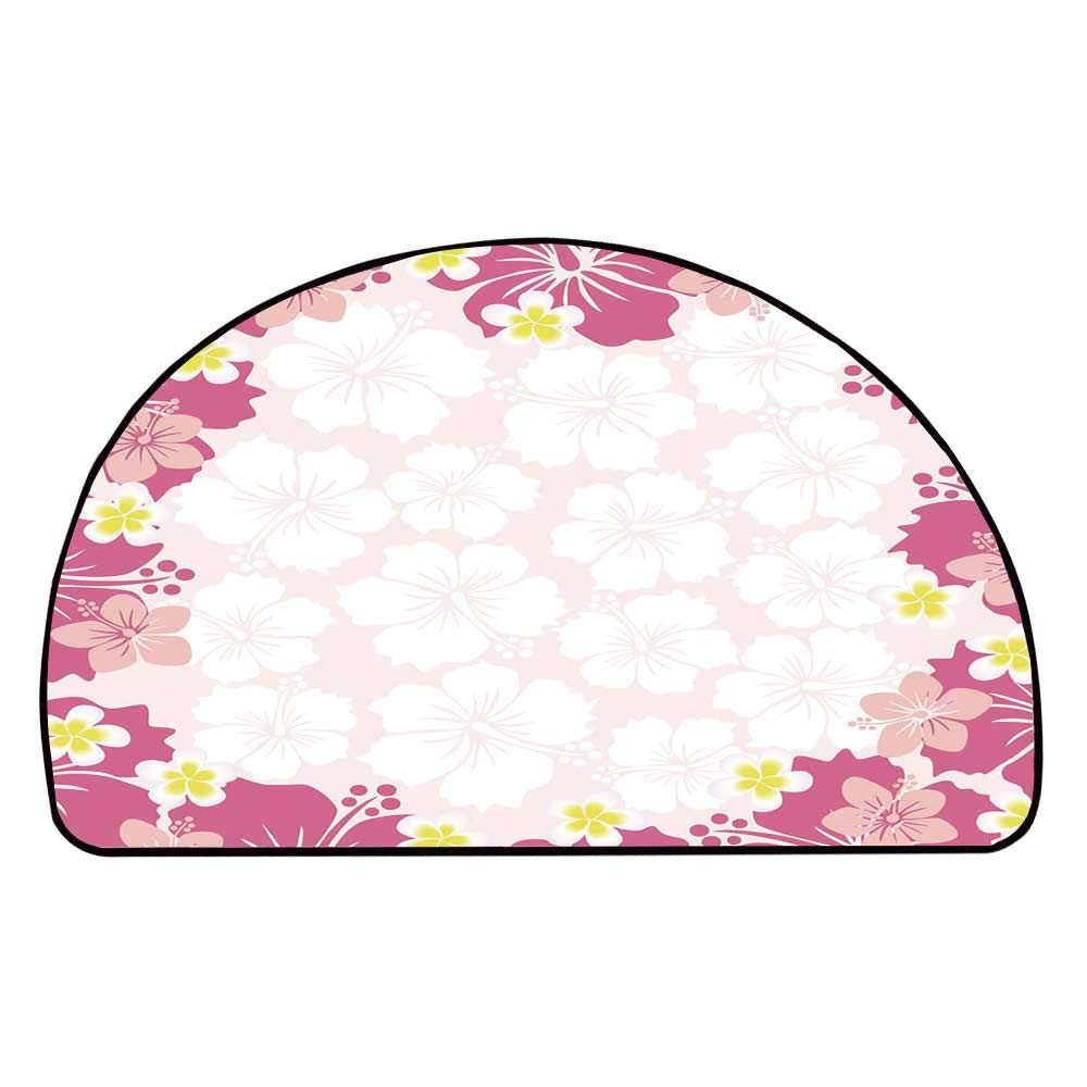 C COABALLA Luau Comfortable Semicircle Mat,Graphic Framework Cute Pink Hibiscus Flourish Hawaiian Nature Abstract Style Decorative for Living Room,11.8'' H x 23.6'' L