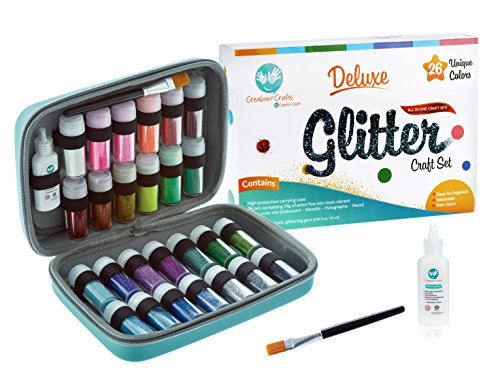 Glitter Art set by Creabow Crafts - 26 extra fine glitters (iridescent,holographic...) in shaker jar with brush, glue in EVA carrying case - easy store & organize. Sparkle DIY project, slime, nail