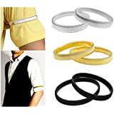 6pcs Solid Color Elastic Bracelet Shirt Sleeve Holders Elasticated Metal Armbands