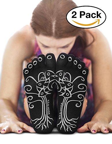 RAE-YOGA Non Skid Antibacterial Bamboo Toe Socks (M-L (8.5 -10), Black)