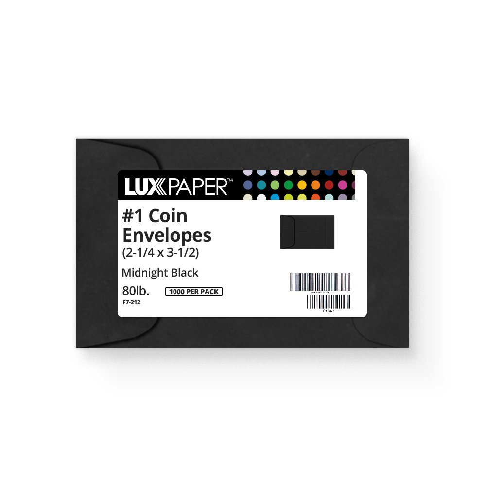 #1 Coin Envelopes (2 1/4 x 3 1/2) - Midnight Black (1000 Qty.) | Perfect for The Holidays, Weddings, Parties & Place Cards | Fits Small Parts, Stamps, Jewelry, Seeds | 1COBLK-1M by Envelopes.com