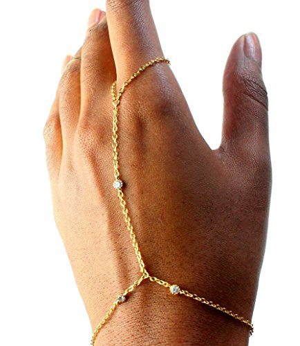 Gold Tri-Diamond Dainty Hand Chain Bracelet, 7