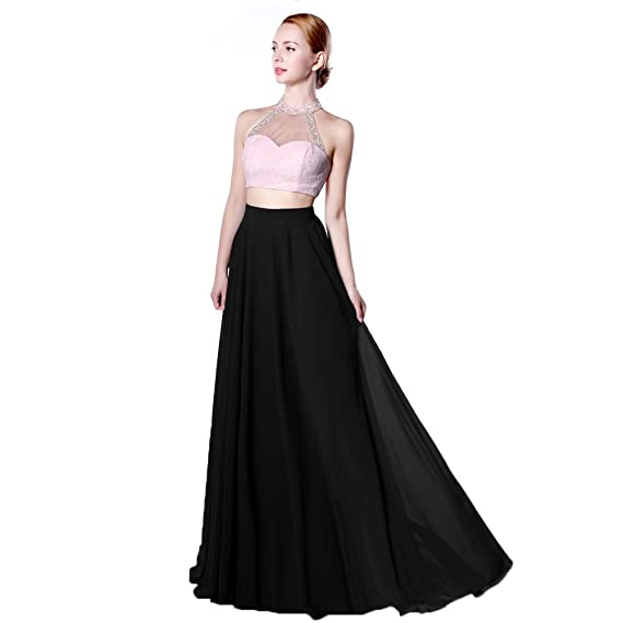 Baijinbai Womens Long Two Pieces Halter Backless Chiffon Bridesmaid Cocktail Evening Dresses Black UK06