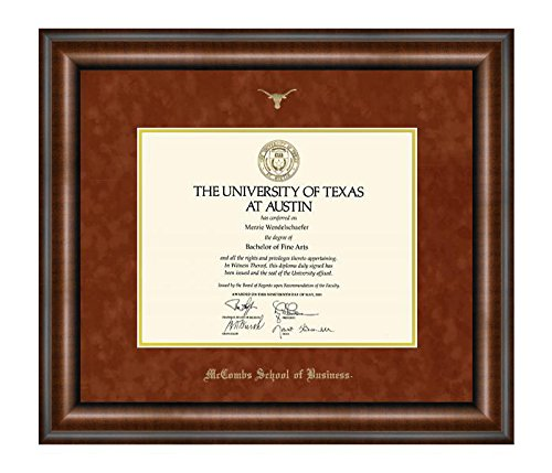 School Diploma Frame (Official Texas Exes - University of Texas (UT) Longhorn Diploma Frame - McCombs School of Business - Walnut / Orange)
