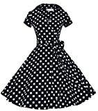 vintage 40s dress - Joansam Women's 40s 50s Style Short Sleeve Rockabilly Picnic Swing Vintage Dress JS1207BD-2XL
