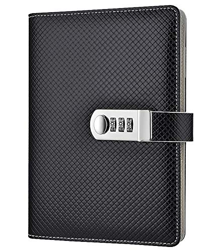 ARRLSDB A5 PU Leather Diary with Combination Lock Creative Password Notebook Locking Student Handbook Notepad and Journal Diary (Black)