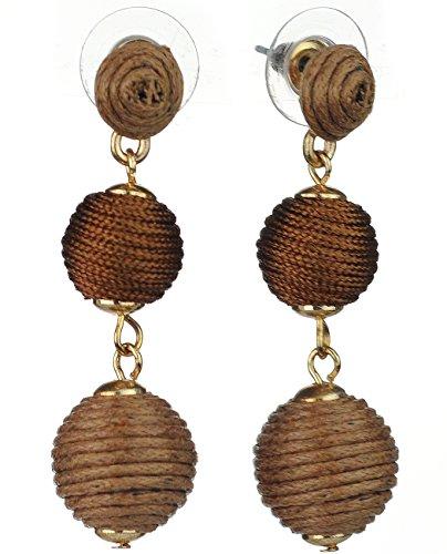 Earrings Brown Two Tone (Women's Triple Thread 2 Tone Lantern Ball Dangle Pierced Fashion Earrings, Brown)