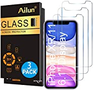 Ailun Glass Screen Protector for iPhone 11/iPhone XR 6.1 Inch 3 Pack Tempered Glass Screen Protector for Apple