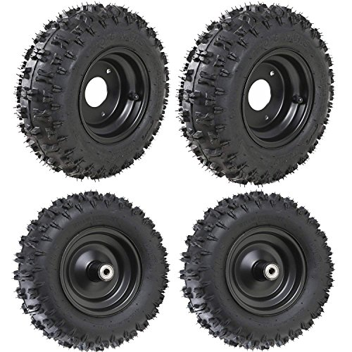 JCMOTO 4 Sets of 4.10-6 Go Kart ATV Tubeless Tires with Rims | Front and Rear Tire for Scooter Quad Bikes 4 Wheelers (Go Kart Dirt Tires)