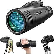 Monocular Telescope - 12x50 High Power Prism Monocular HD Scope Portable Waterproof Fogproof with Smartphone H