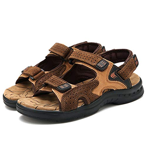 Genuine Leather Summer Breathable Men Sandals Beach Shoes Men's Causal Shoes,Brown Sandals,10
