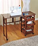 Sewing Craft Table w Wheels -Space Saver Folds Away in Walnut