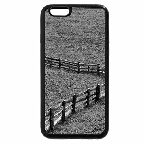 iPhone 6S Case, iPhone 6 Case (Black & White) - fence in the green field