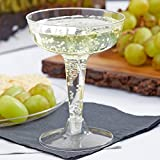 Pack of 20 CLEAR 4 oz. Plastic 2-Piece Champagne / Coupe Glass Flairware w/ Signature Party Picks