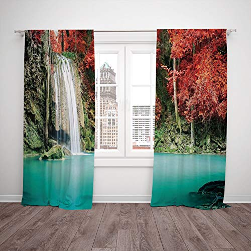 SCOCICI Polyester Window Drapes Kitchen Curtains [ Waterfall Decor,Single Waterfall in Corner The Deep Forest Fair Fall Oak Trees,Red Blue] Bedroom Living Room Dorm Kitchen Cafe