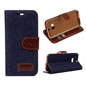 Amtonseeshop Hot Selling Jeans Design Hard Flip Leather Case for HTC One M8 (Dark Blue)