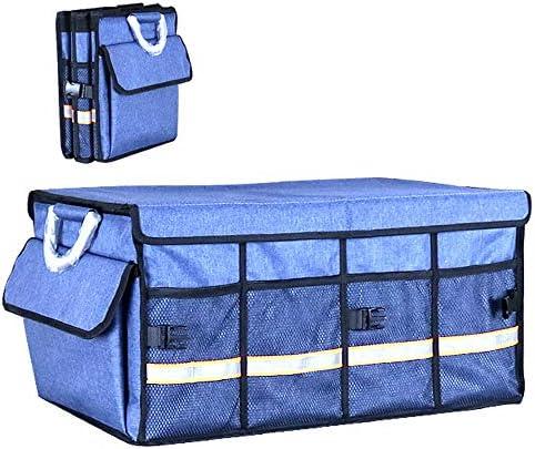 カーオーガナイザートランク 車の収納ボックス - 8メッシュで車のトランクオーガナイザーはセダンSUV、ブラック用のストレージ蓋付き折りたたみ貨物保管容器をポケット - 2つのサイズ -カーアクセサリー (Color : D, Size : 60x43x30cm)