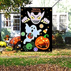 JINSEY Halloween Ghost Pumpkin Bean Bag Toss Games with 3 Bean Bags, Halloween Games for Kids Party Decoration