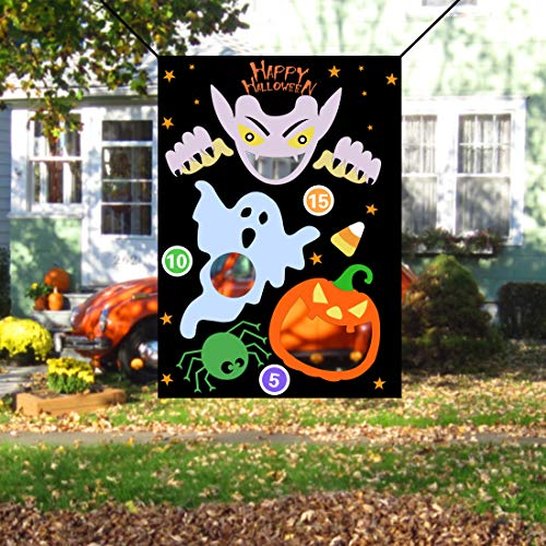 JINSEY Halloween Ghost Pumpkin Bean Bag Toss Games with 3 Bean Bags, Halloween Games for Kids Party Decoration ()