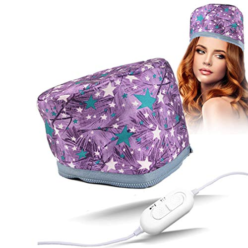 110V Hair Care Hat,Hair SPA Cap,Hair Care Steamer Cap,Thermal Hair Cap,Waterproof Home Hair Thermal Care Electric Hair Treatment Beauty Steamer Perfect for Family Personal Care (Purple Star)