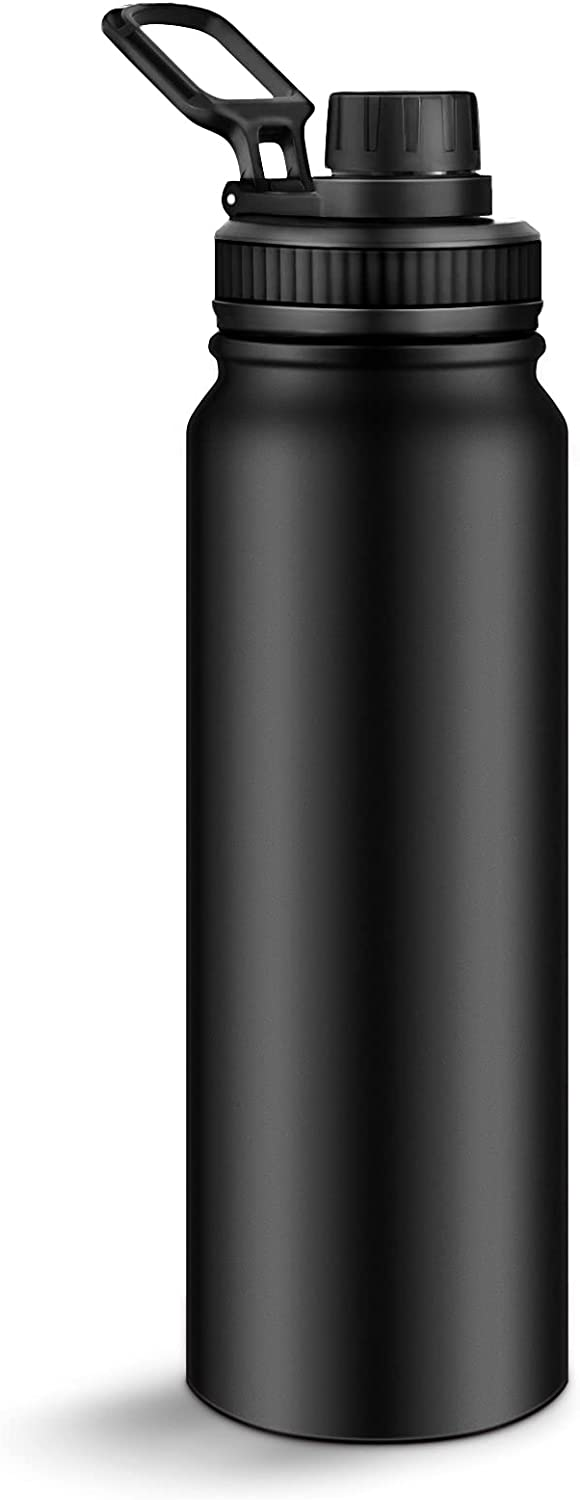 Originals Vacuum-Insulated Stainless-Steel Water Bottle 27oz - Wide Mouth Straw Lid Travel Mug - Keep Ice Cold/Hot Beverage Effectively Double Walled Flask (Black)