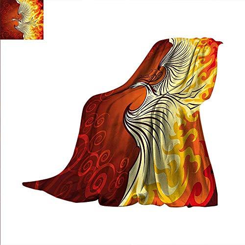 Orange Digital Printing Blanket Phoenix Bird in Flame Summer Quilt Comforter 80