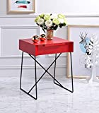 Major-Q Retro Styled Side Table with Metal Base for Bedroom / Living room / Game room, Red Finish 18 x 15 x 22