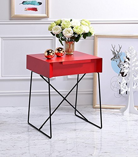 """Major-Q Retro Styled Side Table with Metal Base for Bedroom / Living room / Game room, Red Finish 18 x 15 x 22 - Major-Q is a registered furniture trademark brand. All Major-Q Products will be covered with Limited Major-Q Warranty. Please buy with confidence. Metal top with 1 drawer and Metal base with """"X"""" crossbar supports - living-room-furniture, living-room, end-tables - 51gXDfzMa L -"""