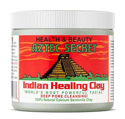 Secreto azteca - Arcilla curativa india - 1 libra. | Mascarilla facial y corporal de limpieza profunda de poros | La arcilla de bentonita de calcio 100% natural original - ¡Nuevo! Versión 2