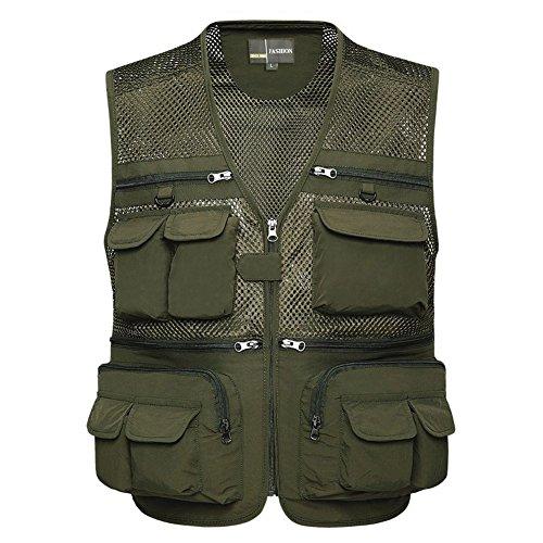 Zicac Männer Reißverschluss Multi-Tasche Netz Breathable Ineinander greifen Weste Angeln Vest für Camping Jagd Fischen Fotografie (Tag XL -EU L, military grün)