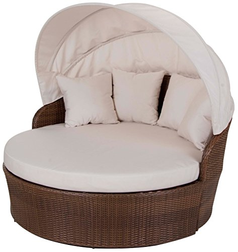Panama Jack PJO-7001-ATQ-CD Key Biscayne Canopy Daybed with Cushion, Sunbrella Dupione (Bamboo Canopy Beds)