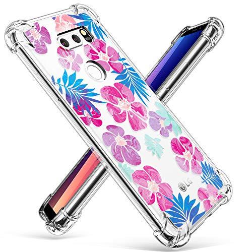 b12a8365fb430 GVIEWIN LG V30 Case, LG V30 Plus Case, Floral Flowers Design with ...
