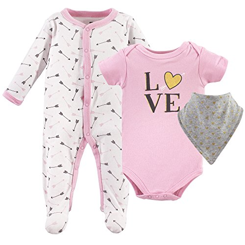 Hudson Baby Baby Multi Piece Clothing Set, Pink Love 3, 0-3 Months (3M)