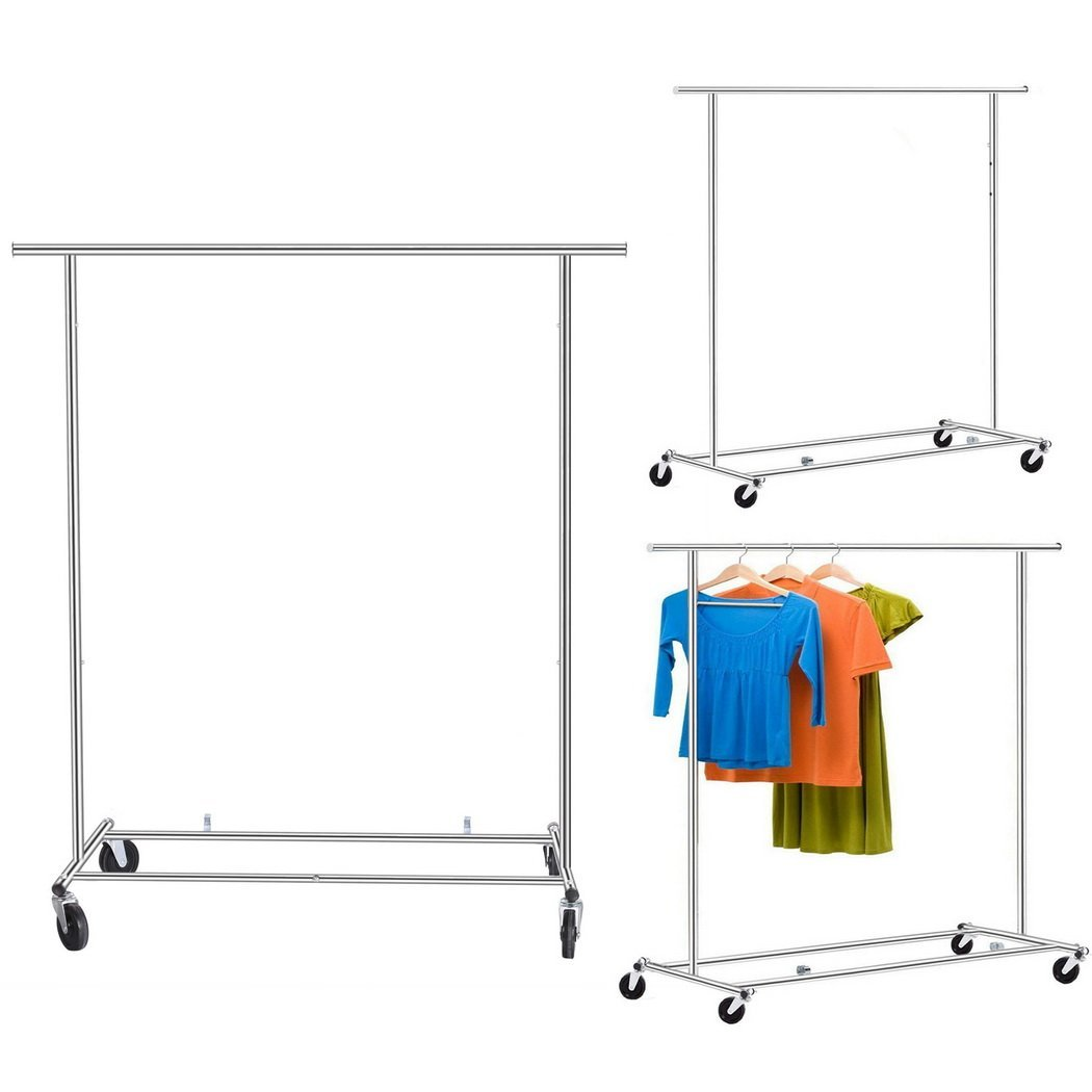 Bluefringe Garment Rack Heavy Duty Adjustable Clothing Rack with Top Rod,4 Wheels and Lower Storage Shelf,Single Rod Extendable Hanging Rack for Home Office Bedroom