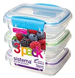 Sistema KLIP IT Accents Collection Food Storage Containers, 6.7 oz./0.2 L, Color Received May Vary, 3 Count