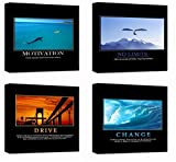 "Motivational Inspirational Self Positive Office Canvas Stretched Wood Framed Combine Modern Astract Art For Home Room Hall Wall Print Decor 4Pcs x 12x12"" (30x30cm) (209-212)"